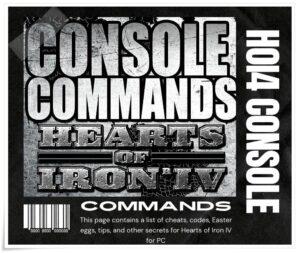 Hoi4 Console Commands
